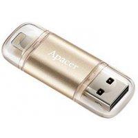 флеш память usb Apacer 64 GB USB 3.1 Gen1 Lightning AH190 Gold (AP64GAH190H)