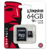 Карта памяти Kingston 64 GB microSDHC Canvas Select 80R CL10 UHS-I Card + SD Adapter (SDCS/64GB)