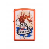 kupit-Зажигалка Zippo Splash Neon Orange Finish-v-baku-v-azerbaycane