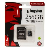 Карта памяти Kingston 256 GB microSDHC Canvas Select 80R CL10 UHS-I Card + SD Adapter (SDCS/256GB)