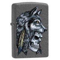 Зажигалка Zippo Wolf Skull Feather Design
