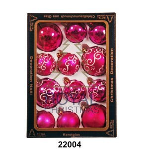 12 Новогодних шаров Royal Christmas - Розовые (22004)