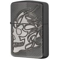 kupit-Зажигалка Zippo Armor Deep Carve Skull Black Ice-v-baku-v-azerbaycane