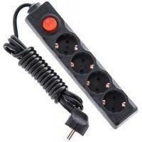 Удлинитель с выключателем 4 портов 3м кабель (PS-GD04K black)