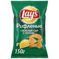 """kupit-Чипсы из натурального картофеля Lays рифленые со вкусом """"Нежный сыр с луком"""" 150г-v-baku-v-azerbaycane"""